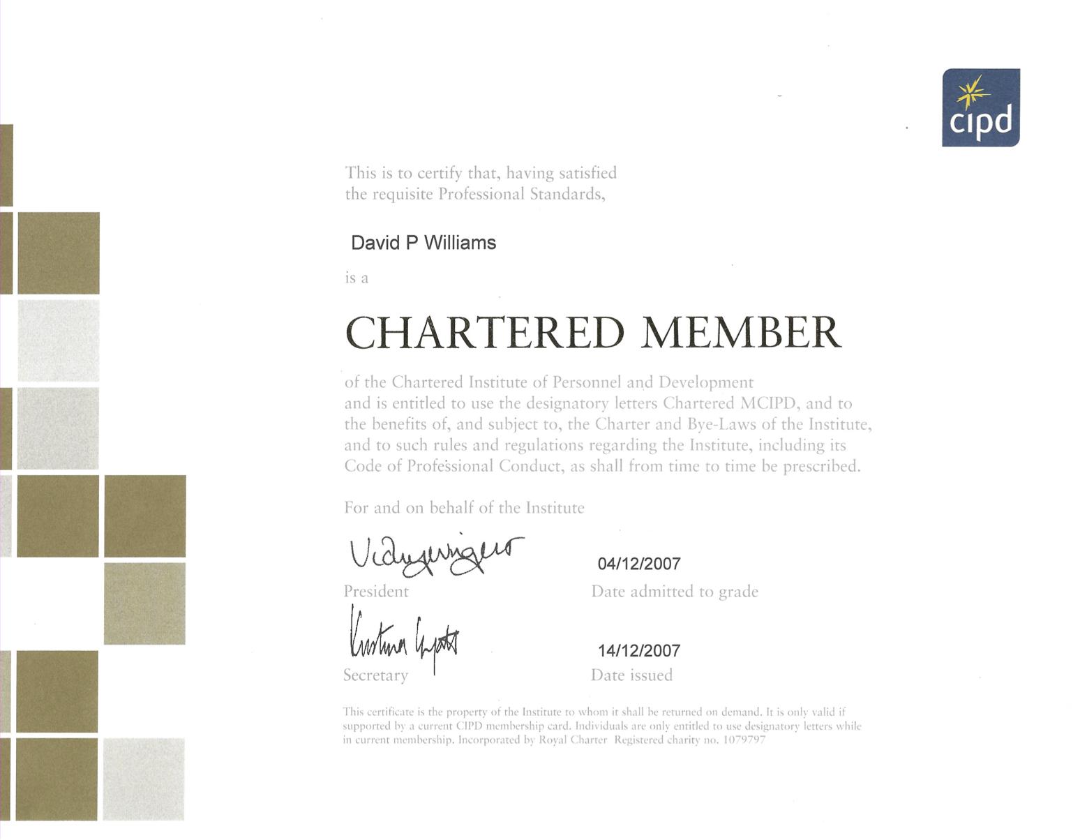 Paul Williams - MCIPD Certificate