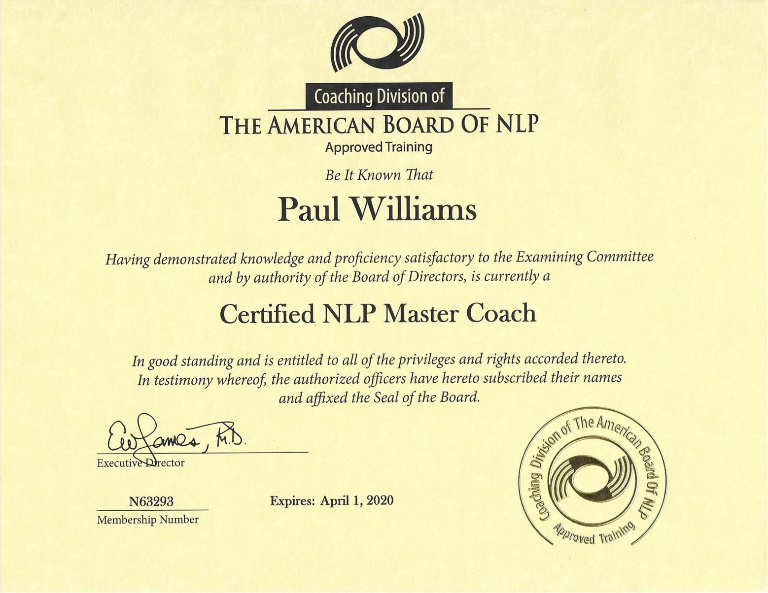 Paul Williams - Master NLP Coach Certificate