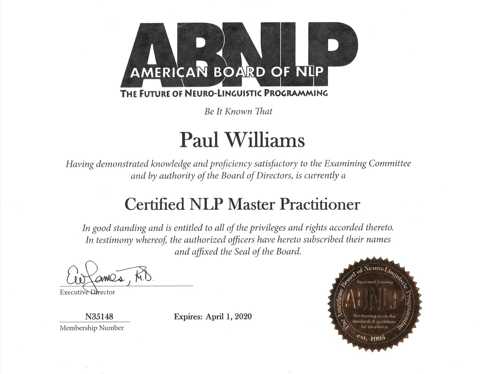 Paul Williams- Master NLP Practitioner Certificate