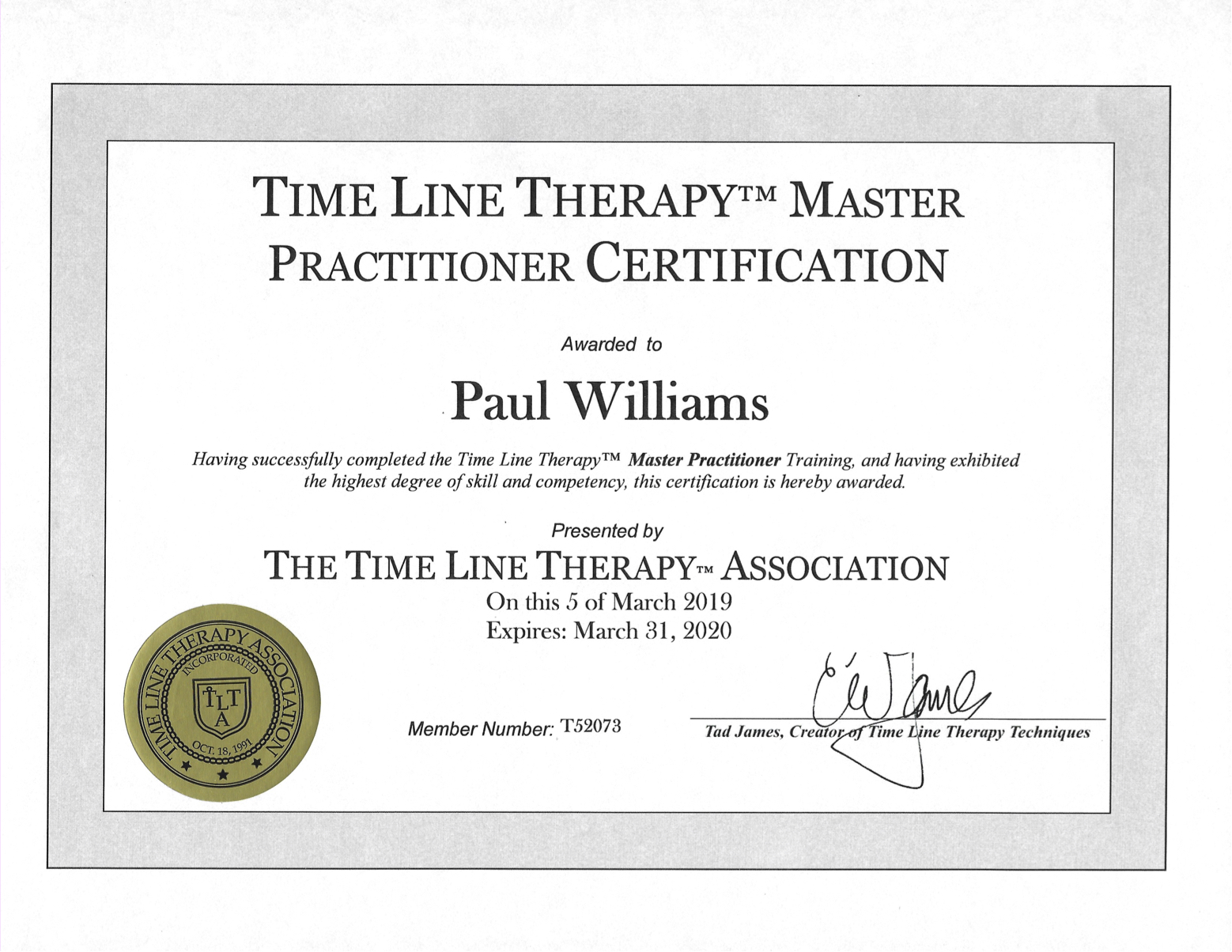 Paul Williams - Master Practitioner of Timeline Therapy Certificate